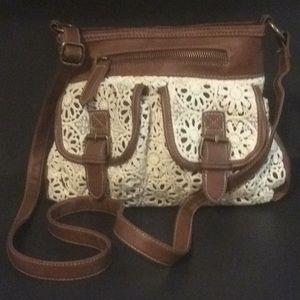 Faux Leather Crocheted Lace Boho Crossbody Bag